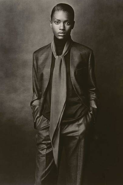 Martin Margiela for Hermès A/W 2001-2002: Collarless jacket and pants in cashmere and silk, high-neck pullover in cashmere and silk, scarf 'Losange' in silk crêpe, 'Le Monde d'Hermès'