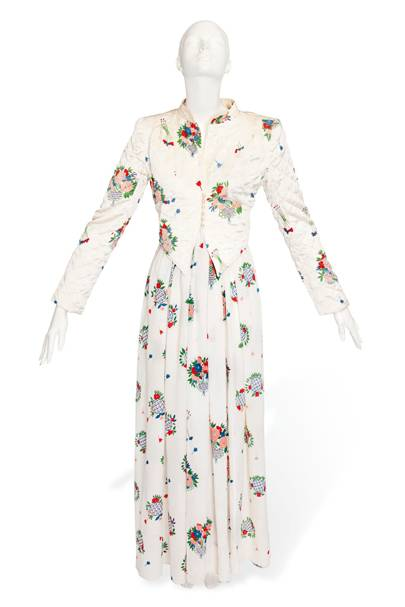 Ossie Clark dress printed with a Celia Birtwell floral design, with a matching quilted jacket