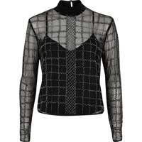 Silver Grid Embellished Mesh Top, £40:
