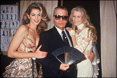 Cindy Crawford and Claudia Schiffer with Karl Lagerfeld