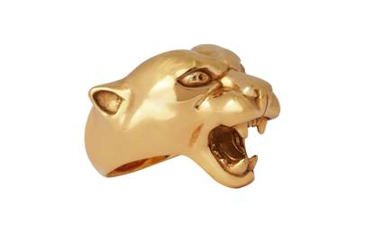 Strange Fruit Panther Solid Silver Gold Plated Ring