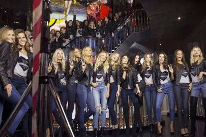 The models inside the Bond Street Victoria's Secret store