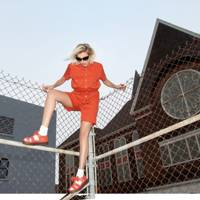Orange one-piece, £120; Bow sandals, £120