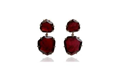 Amp up the glamour with Annoushka's deep red garnet and rose-gold chandelier earrings