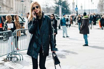 8. Switch to a long-line leather jacket