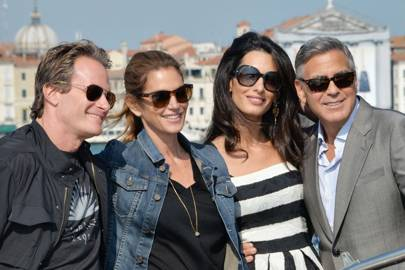 Rande Gerber and Cindy Crawford with Amal and George Clooney at their wedding in Venice in 2014