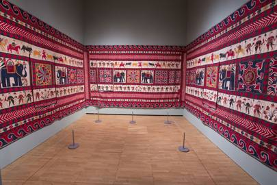 Twenty years ago this early 20th century cotton appliqué wall-hanging from Gujarat was found dumped on a New York pavement in  Brooklyn and now sits in the Fabric of India Exhibition