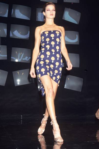 On the catwalk for Versace in 1995