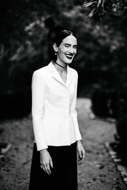 "A faint echo of Dior's signature ""Bar"" jacket in this ensemble by Maria Grazia Chiuri for Dior, Spring/Summer 2017"