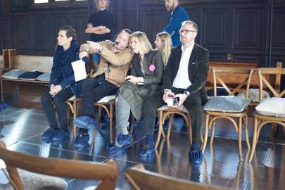 Gabriela Hearst at The Refectory at the Highline Hotel discussing logistics with her team (including producer Alex de Betak, on her right, and her husband Austin, on her left) before her Autumn/Winter 2017 debut runway show
