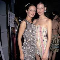 With fellow model Angela Lindvall in 1997