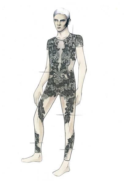 Julien Macdonald's menswear ballet costumes sketch