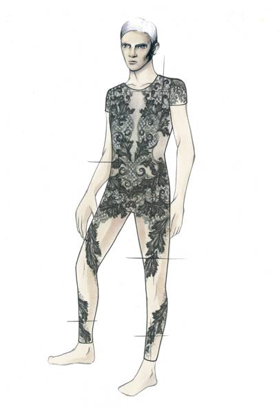 Julien Macdonald's menswear ballet costumes sketch