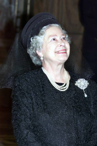 The Queen wearing a Frederick Fox hat, October 2000