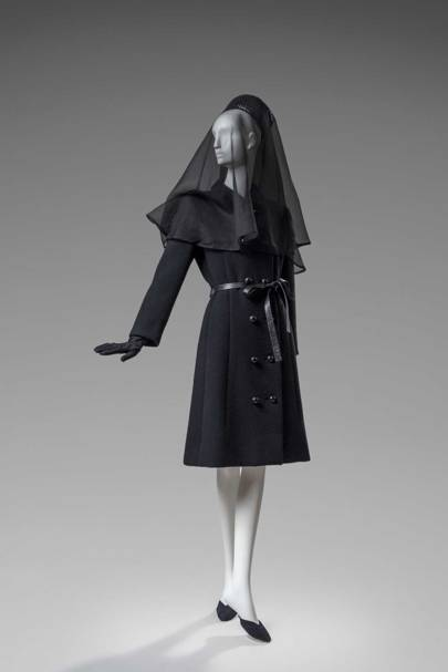 The Givenchy woollen coat worn by the Duchess of Windsor to the funeral of the Duke of Windsor in 1972