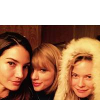 Lily Aldridge, Taylor Swift (who will perform at the show), and Behati Prinsloo get cosy