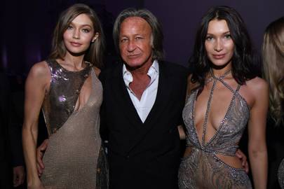 Gigi and Bella Hadid with their father, Mohamed