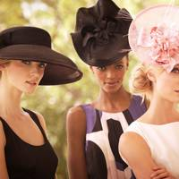 From left to right: wide-brimmed net hat, £110; Contoured hat, £85; bow and floral headpiece, £80