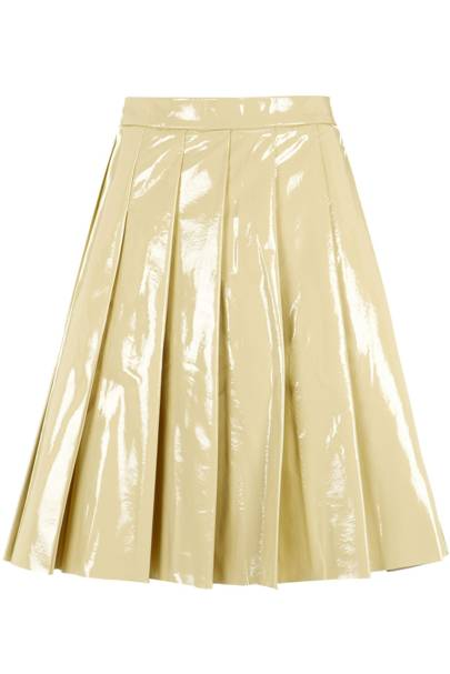 Patent pleated skirt, £300