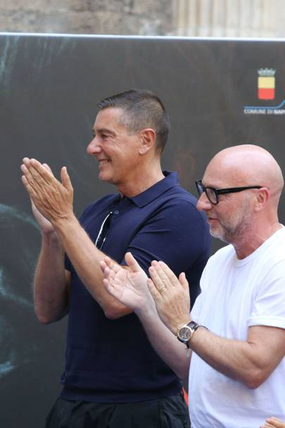 Stefano Gabbana and Domenico Dolce applaud as Sophia Loren is awarded honorary citizenship of Naples.