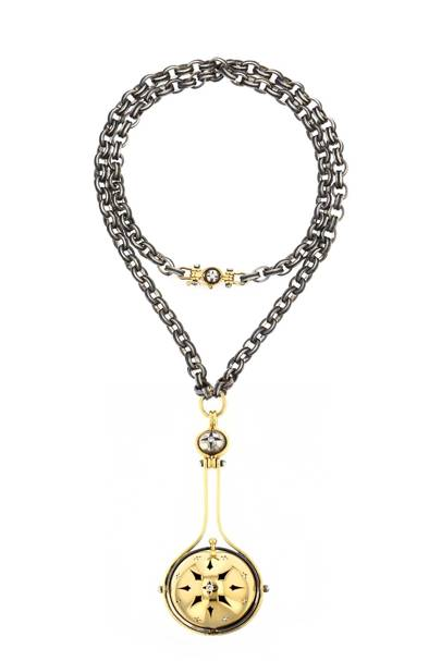 "The ""Pluton"" pendant necklace from the ""Sirius"" collection in closed position"