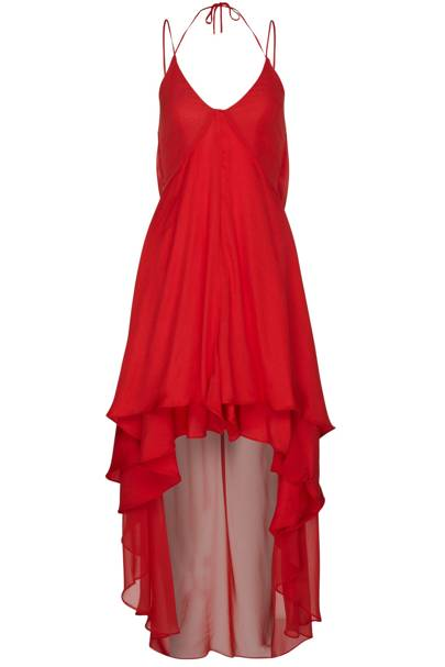 Red satin and chiffon mix dress, £70