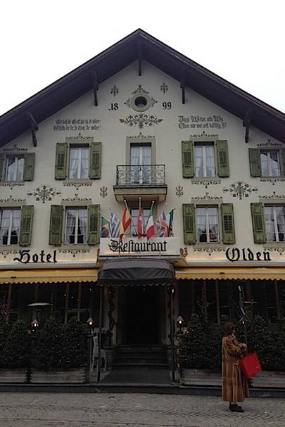 Gstaad institutions. The Olden, fur coats and shopping ( but just supper for me)