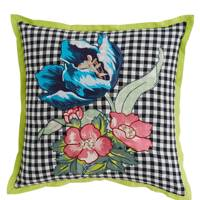 Folklore embroidered floral cushion