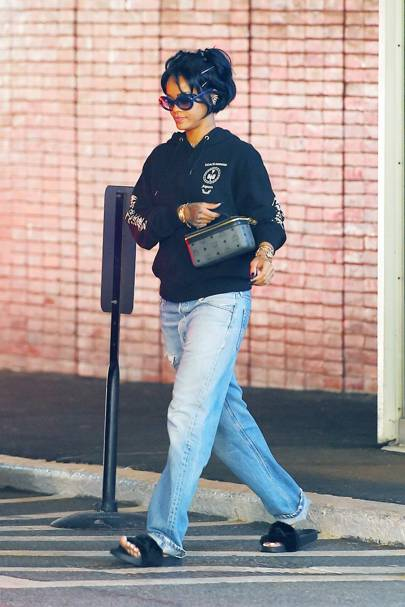 79b250302625b Rihanna out and about in her furry Fenty Puma by Rihanna slides.