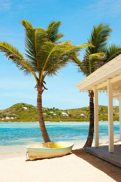 The private beach at Le Guanahani, St Barths