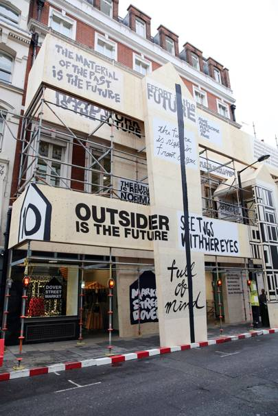 Dover Street Market London, with scaffolding celebrating ten years - until they were obliged to take it down by the council