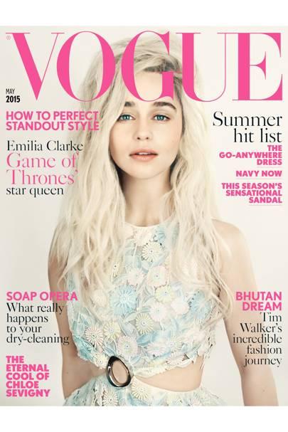 Emilia Clarke wears cotton guipere dress, to order, Dior Haute Couture. Hair: Sam McKnight. Set design: Jean Hughes de Chatillon. Fashion editor: Francesca Burns. Photographer: Paolo Roversi.