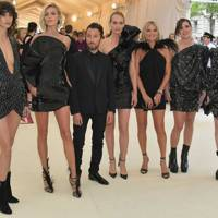Mica Argañaraz, Anja Rubik, Anthony Vaccarello, Amber Valletta, Kate Moss, Charlotte Casiraghi and Charlotte Gainsbourg