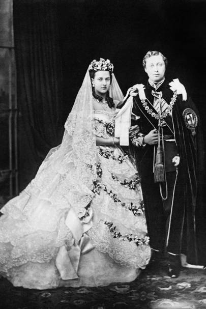 Royal weddings a history of royal weddings british vogue march 1863 king edward vii marries princess alexandra of denmark at st georges chapel in windsor junglespirit Image collections