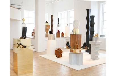 Paul Andrew's Autumn/Winter 2017 collection was inspired by the work of Modernist sculptor Constantin Brancusi, and Brancusi-style works were displayed in the New York showroom beside the shoe designs he inspired