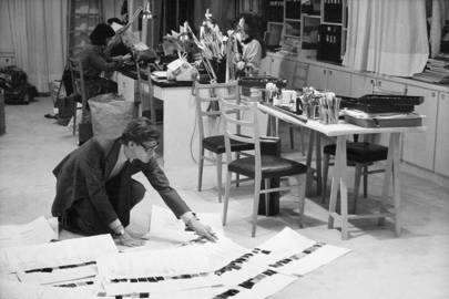 Yves Saint Laurent in his Paris atelier, 1986