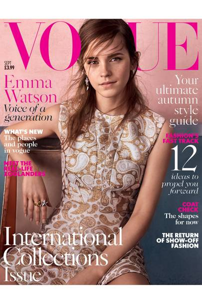 Emma Watson wears jacquard top, £500. Matching miniskirt, £440. Both Stella McCartney. Ear cuff, £230, Vickisarge. Earring, from a selection, Tom Binns. Hair: Shon. Make-up: Sally Branka. Fashion editor: Lucinda Chambers. Photographer: Josh Olins.