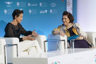Caterina Occhio tells Suzy Menkes SeeMe is no charity at the Condé Nast International Luxury Conference in Oman.