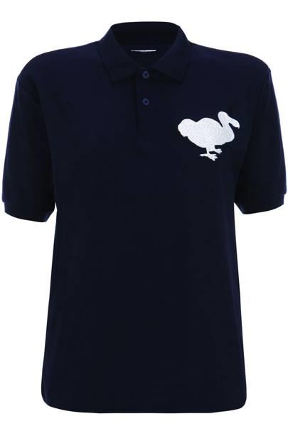 Navy polo shirt, £35