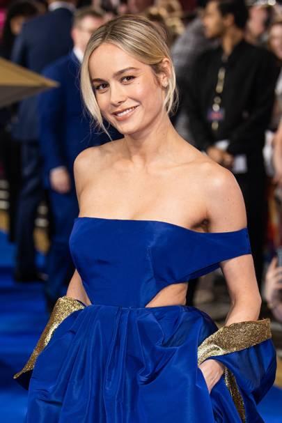 Brie Larson's Custom Valentino Gown Makes Her The Ultimate Captain Marvel Hero