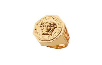 Versace Greca and Medusa Gold Ring