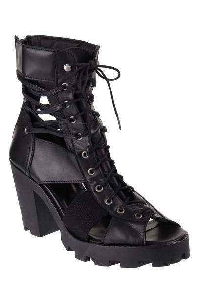 Black canvas and leather cut-out boots, £95