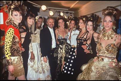 Shalom Harlow, Linda Evangelista, Naomi Campbell, Carla Bruni, Veronica Webb, Karen Mulder, Stephanie Seymour and Christy Turlington with Gianni Versace