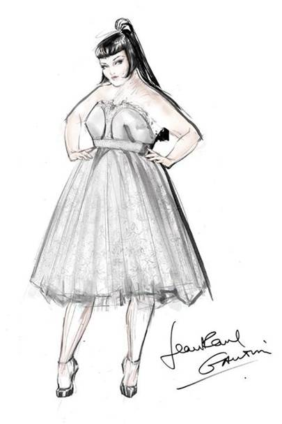A sketch of Gaultier's wedding dress for Beth Ditto