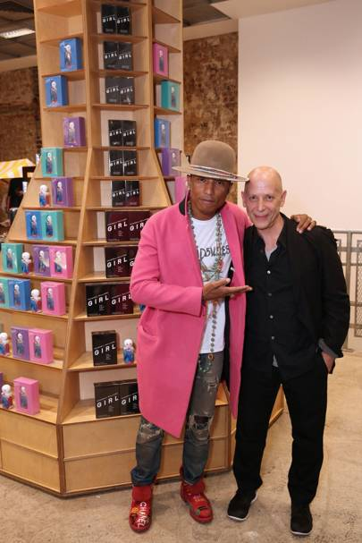 Adrian Joffe and Pharrell Williams celebrate the  launch of Pharrell's scent, Girl, at DSM London