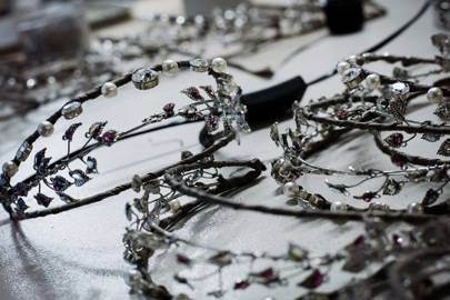 Setting Swarovski crystals in the tiaras, diadems and crowns for Lacroix's [i]A Midsummer Night's Dream[/i]