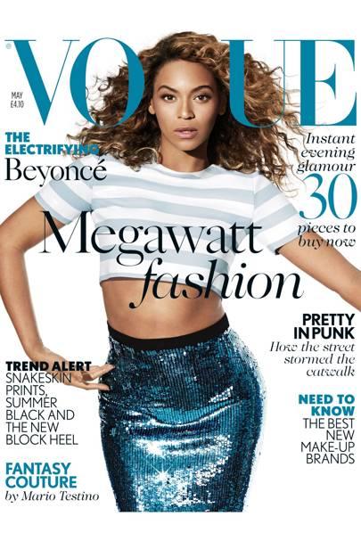 Beyonce wears striped crop top, £390. Sequined skirt, £795. Both Jonathan Saunders, at Matches. Hair: Kimberly Kimble. Make-up: Francesca Tolot. Fashion editor: Francesca Burns. Photographer: Arthur Elgort.
