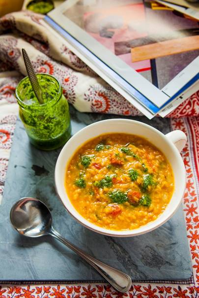 Paprika, Lentil and Tomato Soup
