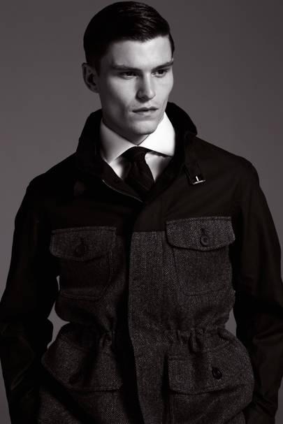 Shirt, £99; tie, £29.50; coat, £275