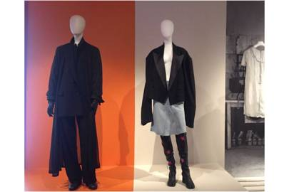 The exhibition reveals Margiela's work for Hermès (against the house orange colour) juxtaposed with his designs for Maison Margiela (whose studios were a palace of white)